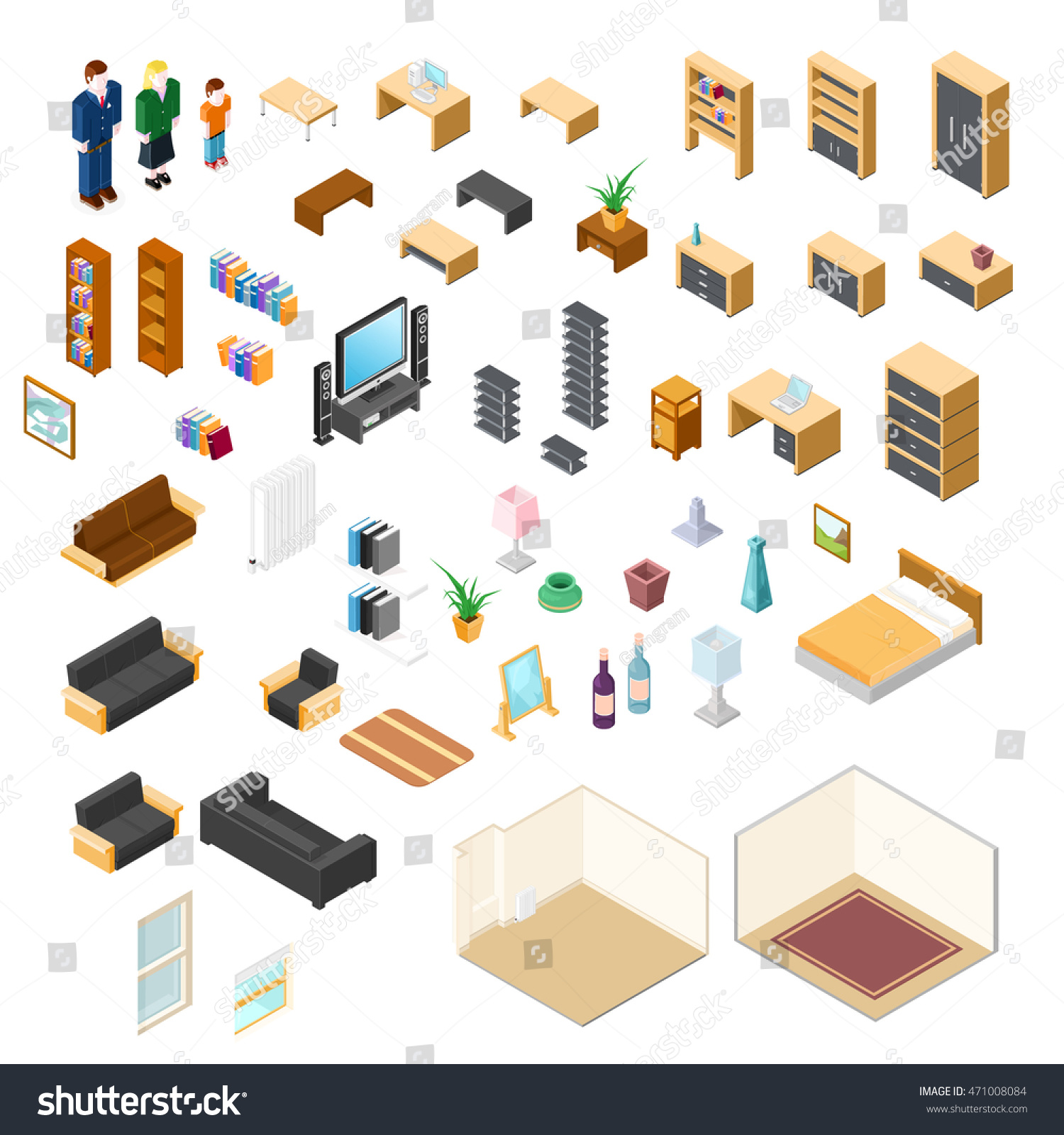 Vector Illustration Isometric Furniture Elements Objects ...