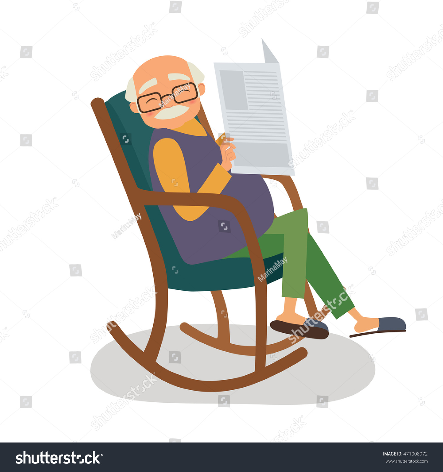 Old Man Newspaper Her Rocking Chair Stock Vector