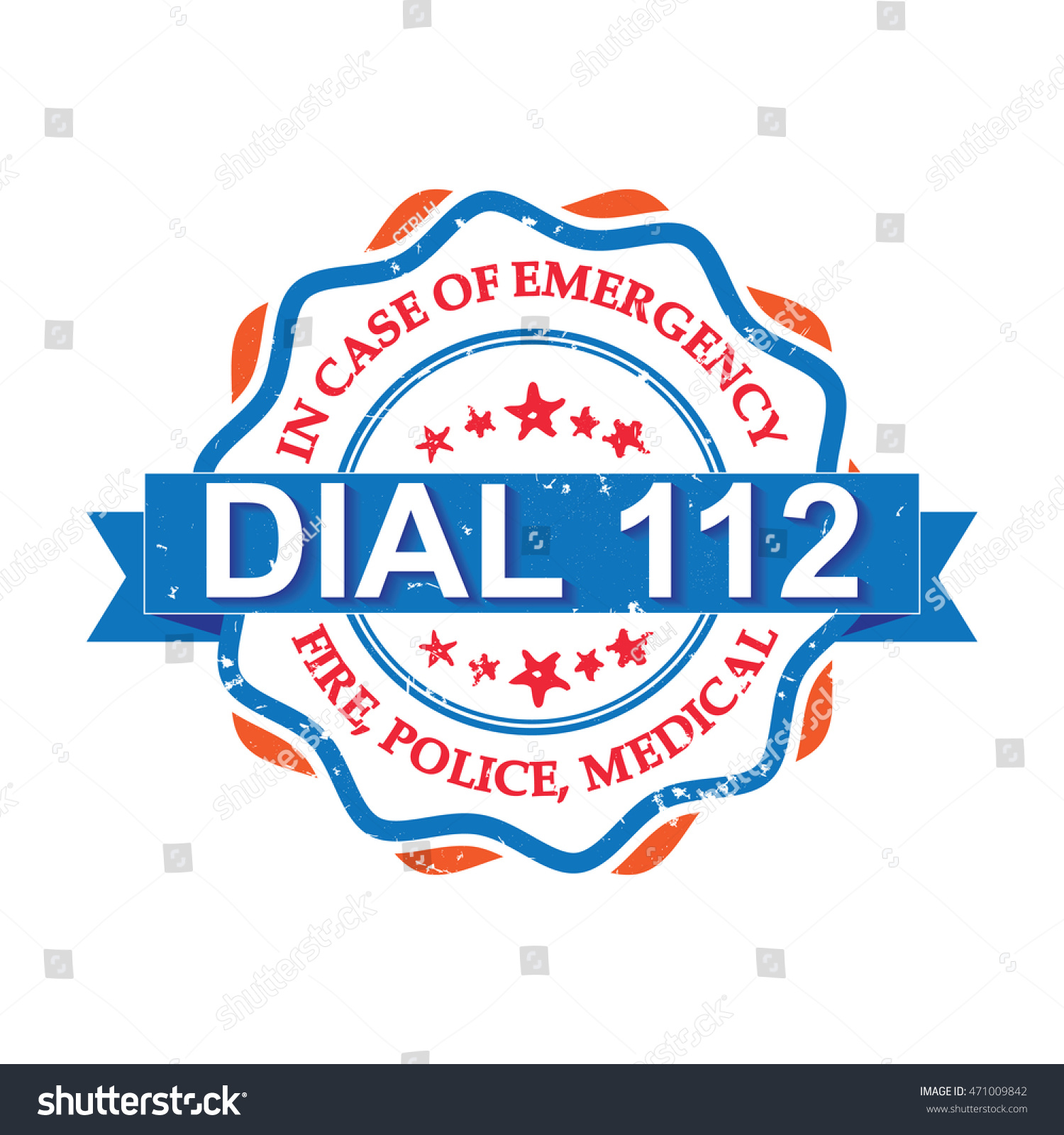 Dial 112 Orange Blue Grunge Label Stock Vector Royalty Free