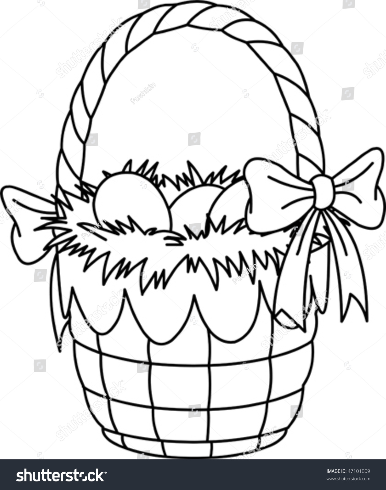 pretty easter basket coloring page - Easter Basket Coloring Pages