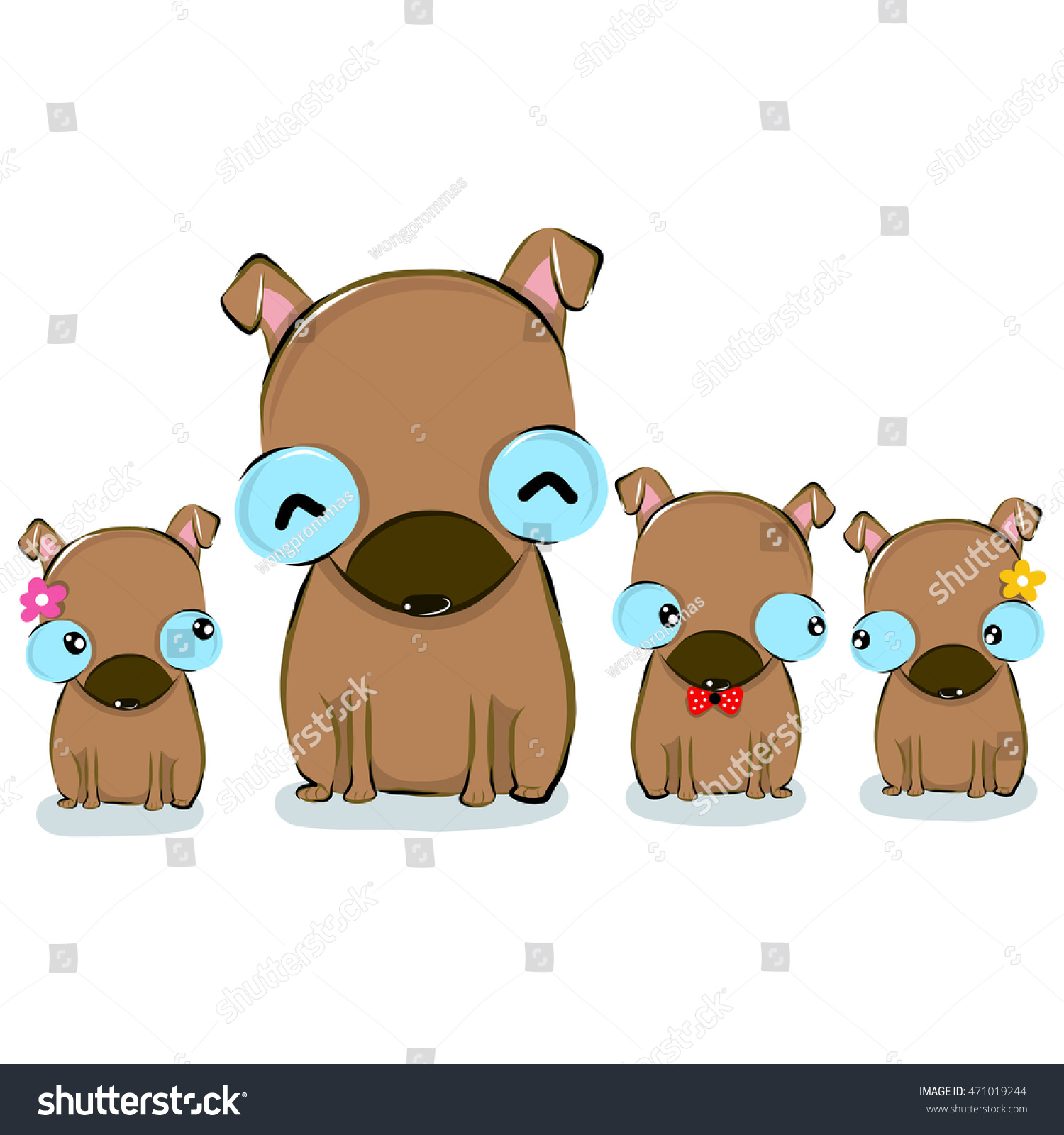 Vector Illustration Cute Cutethaidogfamily Cartoon Drawing Stock