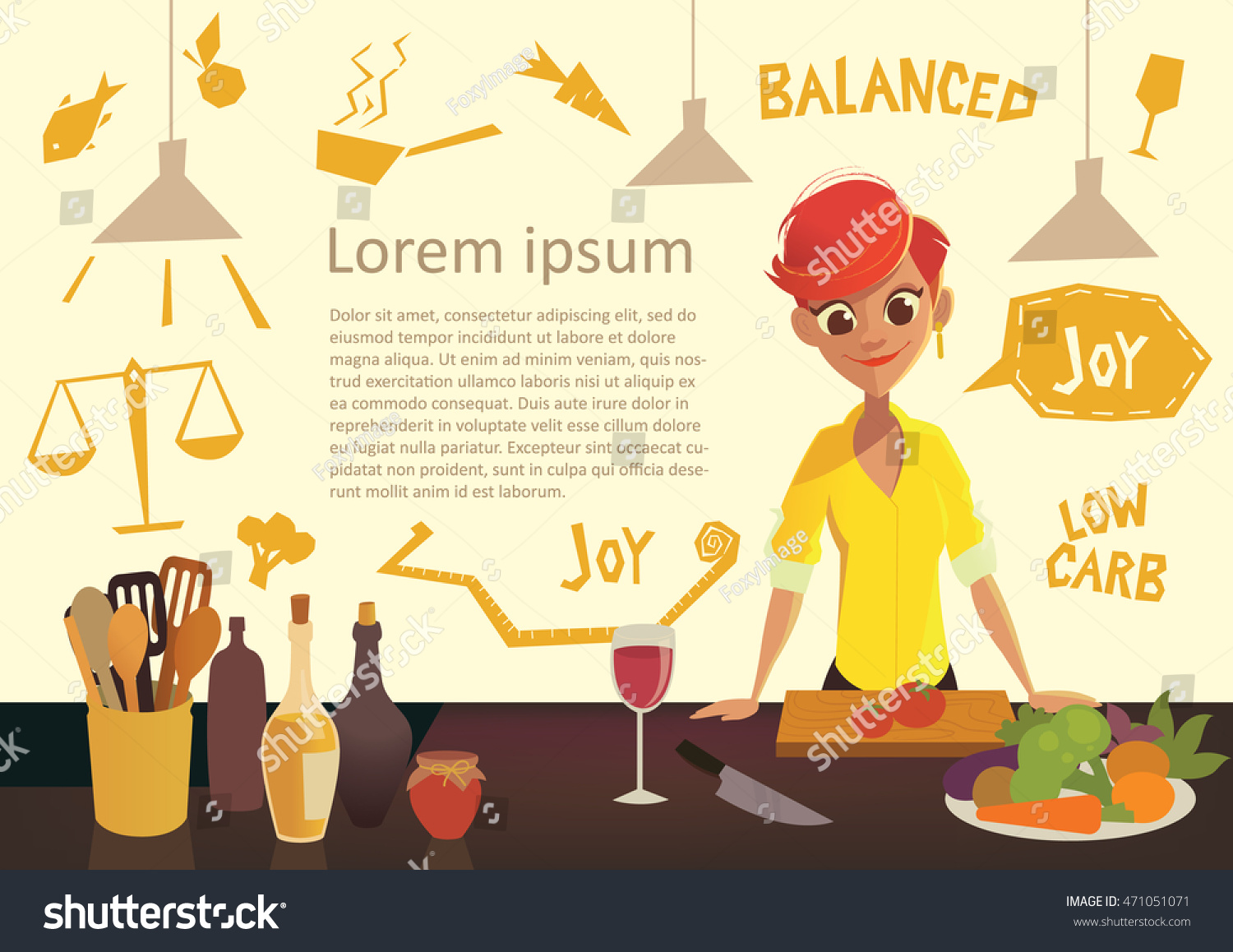 Selection of cartoons on cooking kitchens food and eating - Young Happy Woman Cooking In The Kitchen Healthy Eating Low Carb Diet Flyer