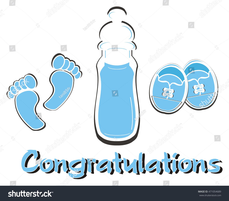 Blue Word Congratulations Next Baby Shower Stock Illustration