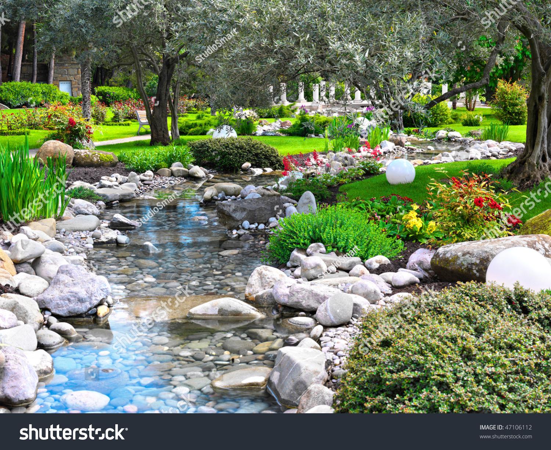Spring flowers asian garden pond stock photo 47106112 for Flower garden ponds