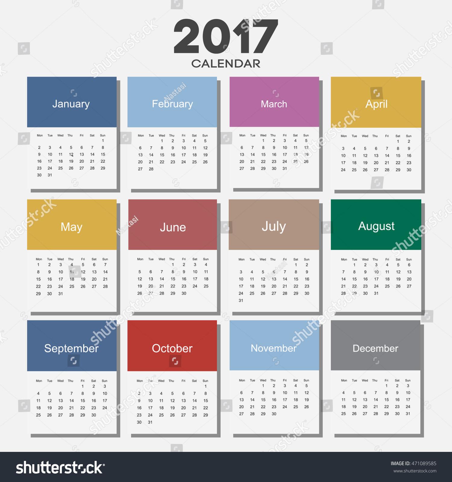 Сделать календарь на 2017 год