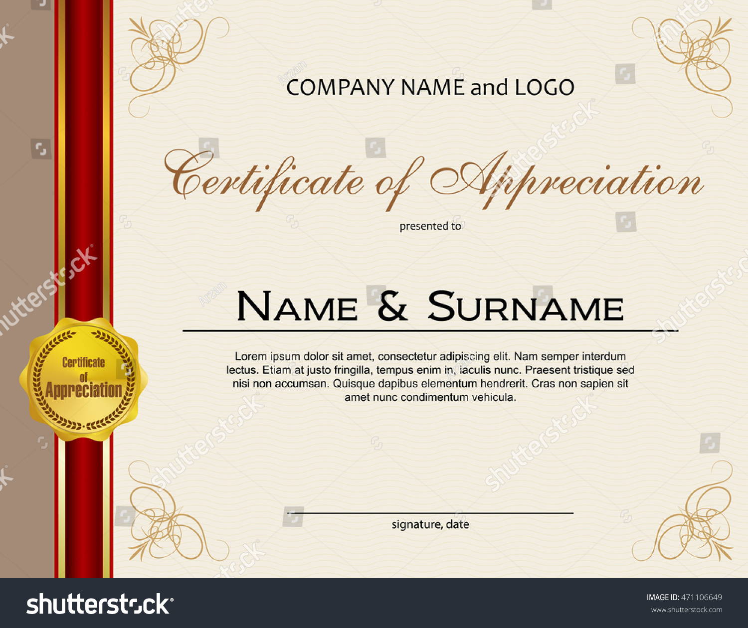 Certificate appreciation medal ribbon stock vector 471106649 certificate of appreciation with medal and ribbon yadclub Image collections