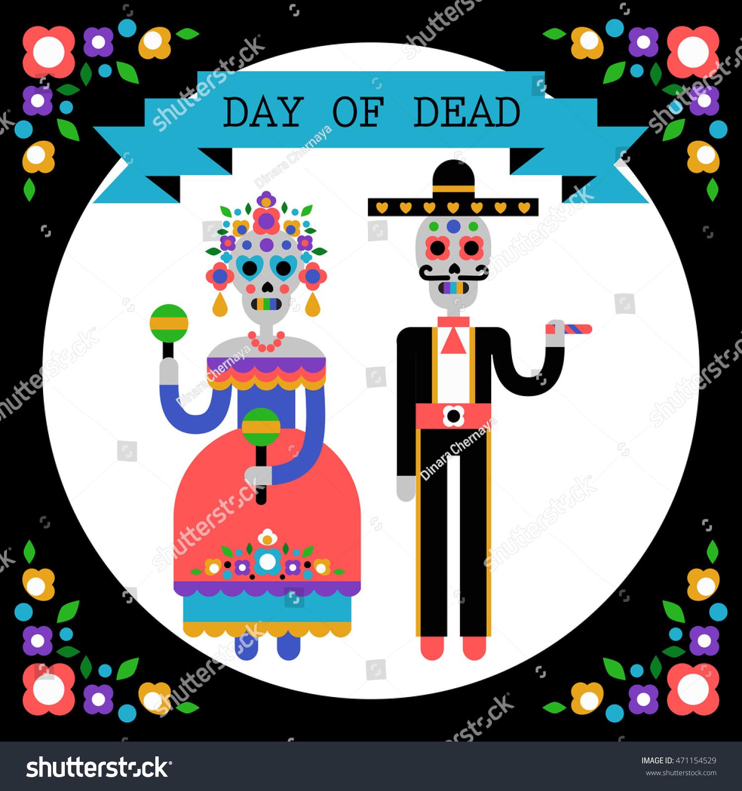 Day Of The Dead Dia De Los Muertos Vector Illustration Couple Skeletons