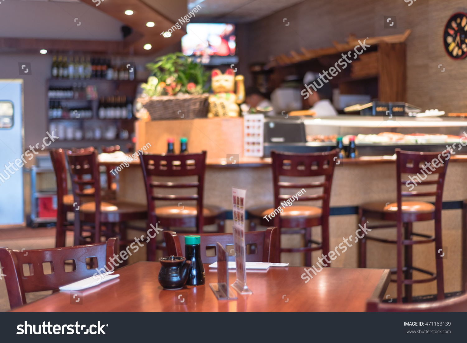 Genial Abstract Blurred Japanese Restaurant Interior In Houston, Texas, US With  Empty Table Sets And