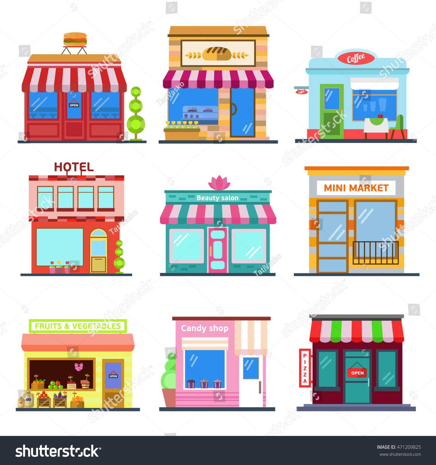 Fancy restaurant buildings clip art - Set Of Flat Design City Public Buildings Restaurants And Shops Facade Icons Pizza