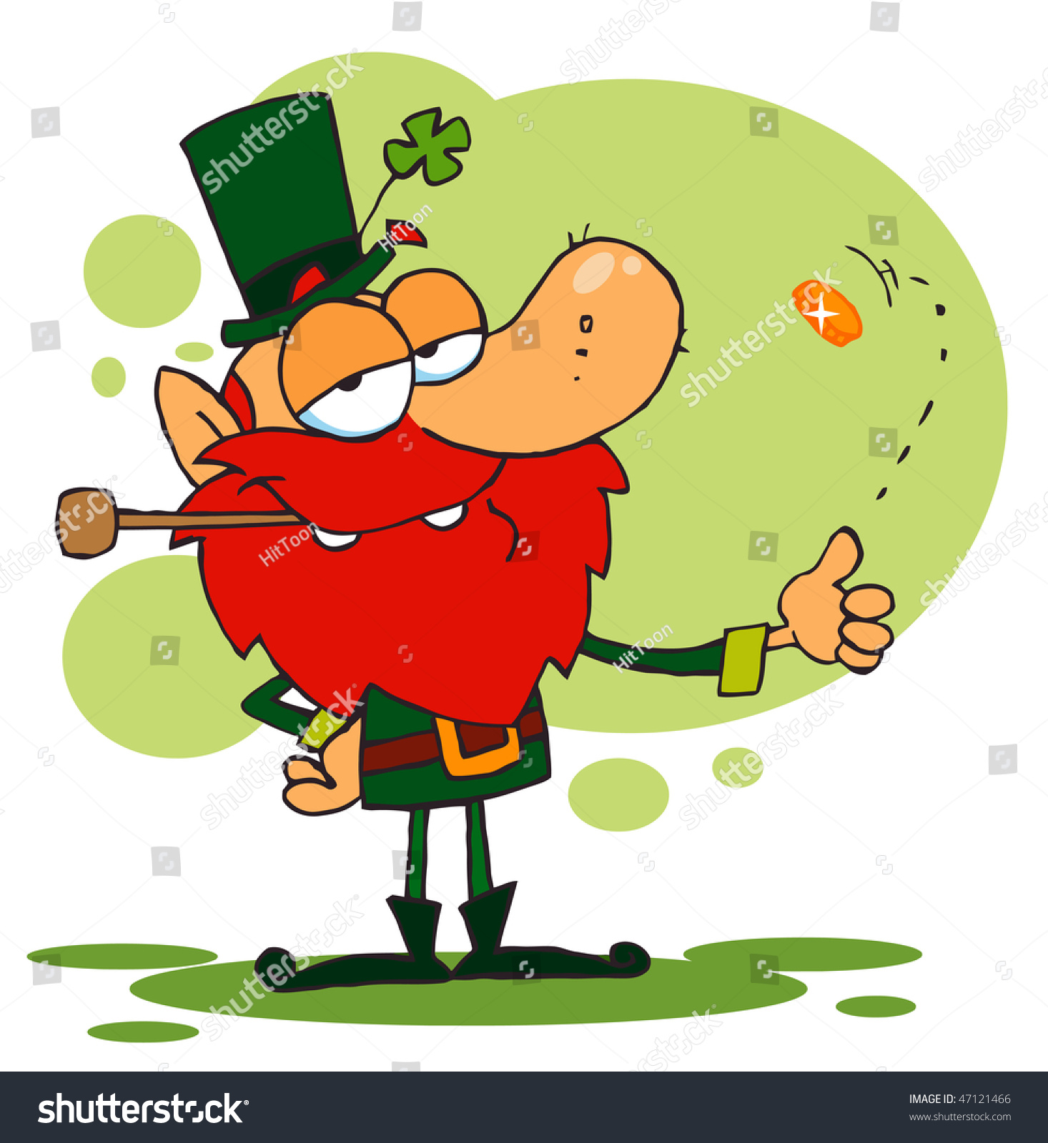 happy leprechaun smoking pipe flipping gold stock vector 47121466