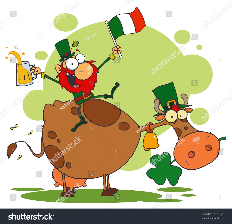 lucky leprechaun riding cow glass beer stock vector 47121490