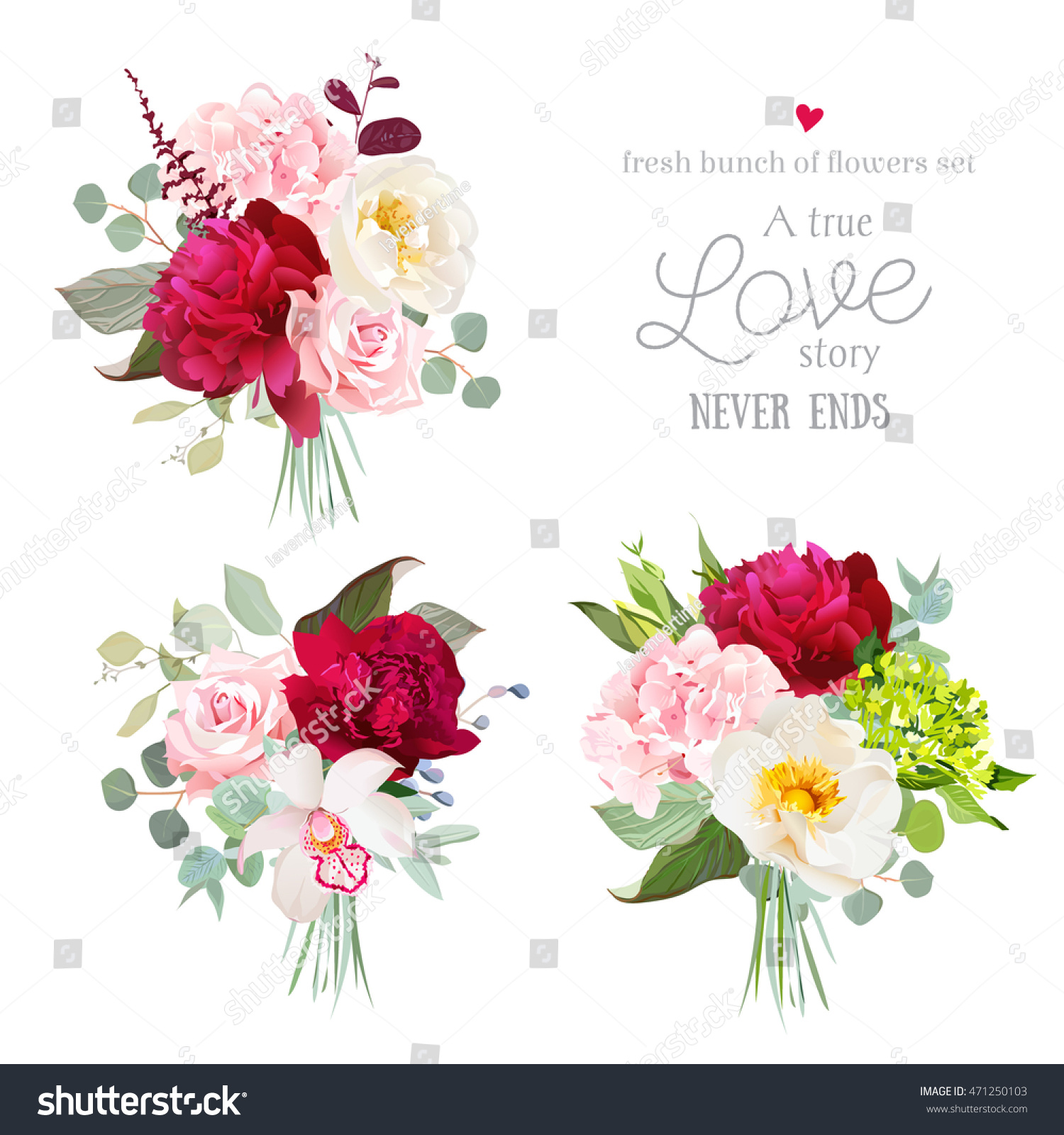 Surprise Bouquets Rose Peony Green Pink Stock Vector Royalty Free Vintage Story English Flower Of And Hydrangea Orchid Eucalyptus Leaves