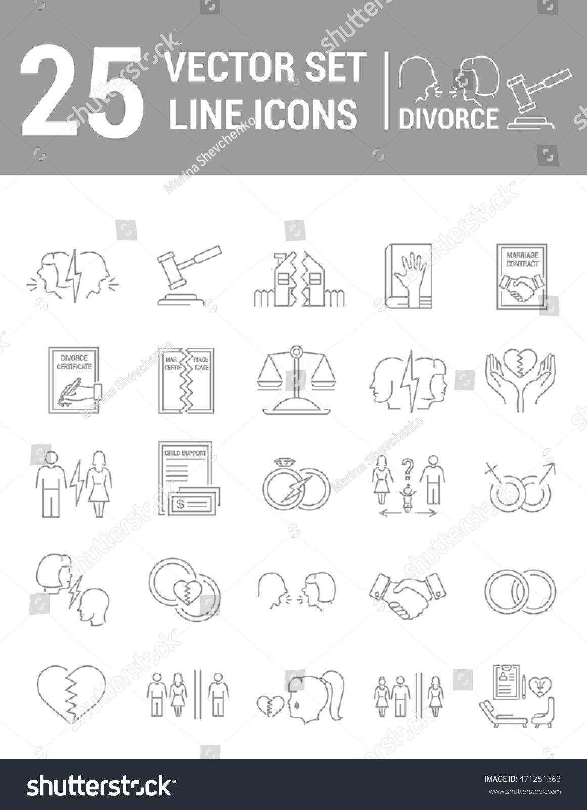 Vector set icons linear design divorce stock vector 471251663 vector set of icons in linear design divorce and the legal process elements of yelopaper Images