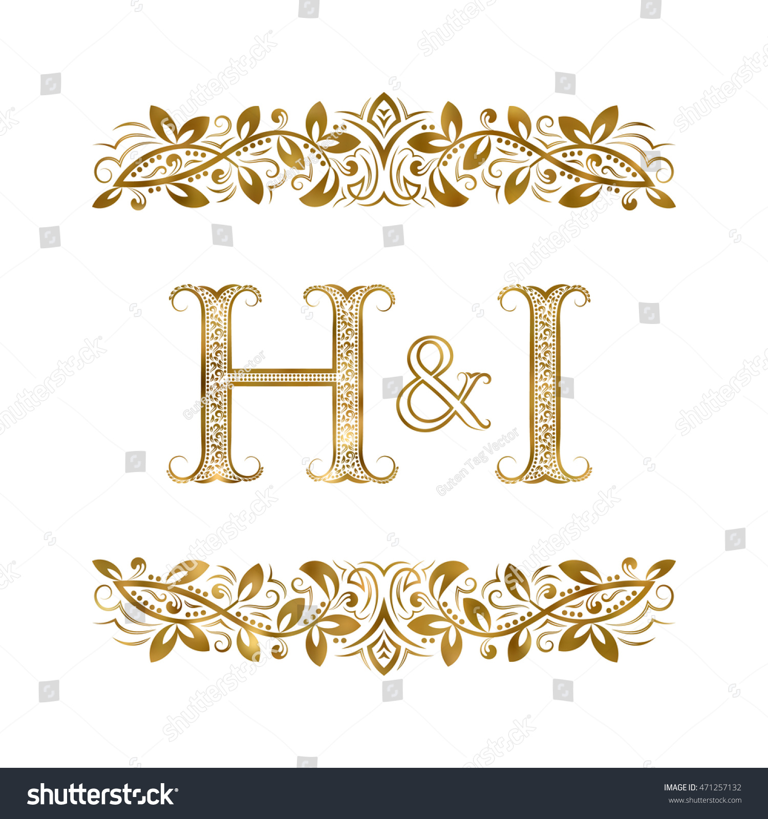 H vintage initials logo symbol letters stock vector 471257132 h and i vintage initials logo symbol the letters are surrounded by ornamental elements biocorpaavc Choice Image