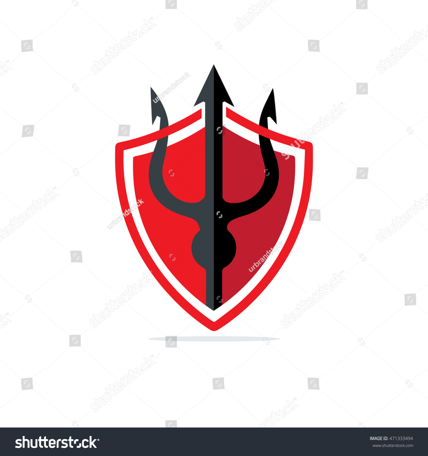 Trident Shield Design Template Logo Red Stock Photo (Photo, Vector ...