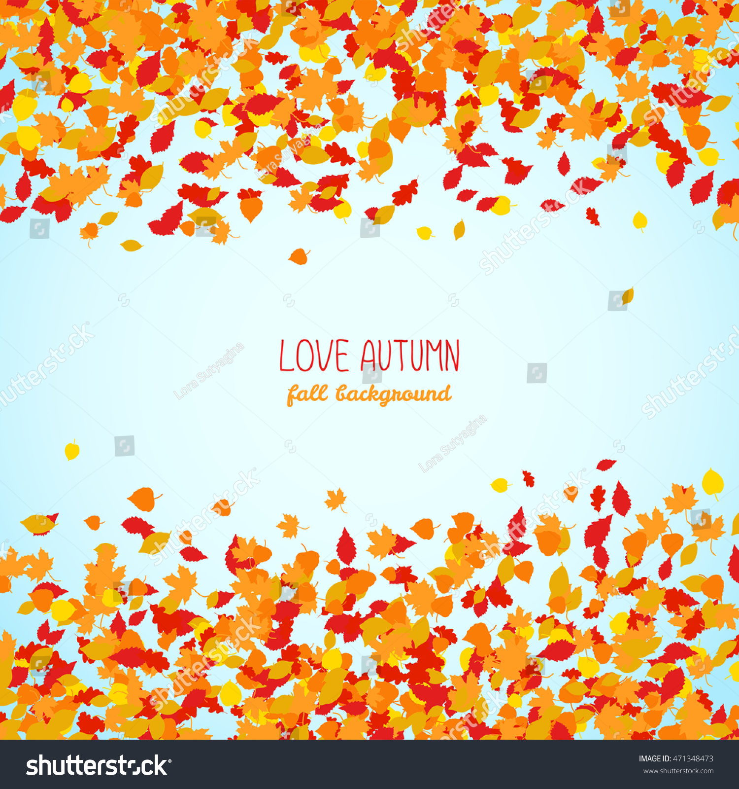 love autumn fall background falling leaves stock vector royalty