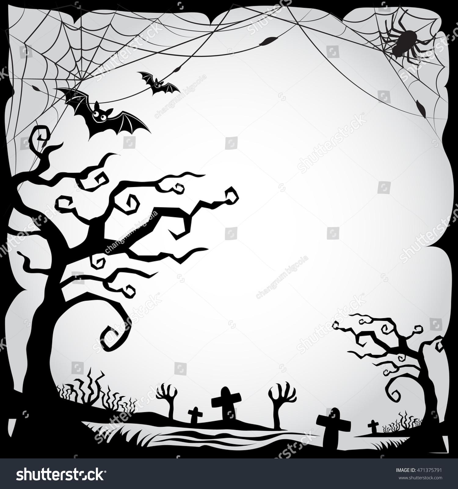 set halloween border frame blackwhite stock vector (royalty free