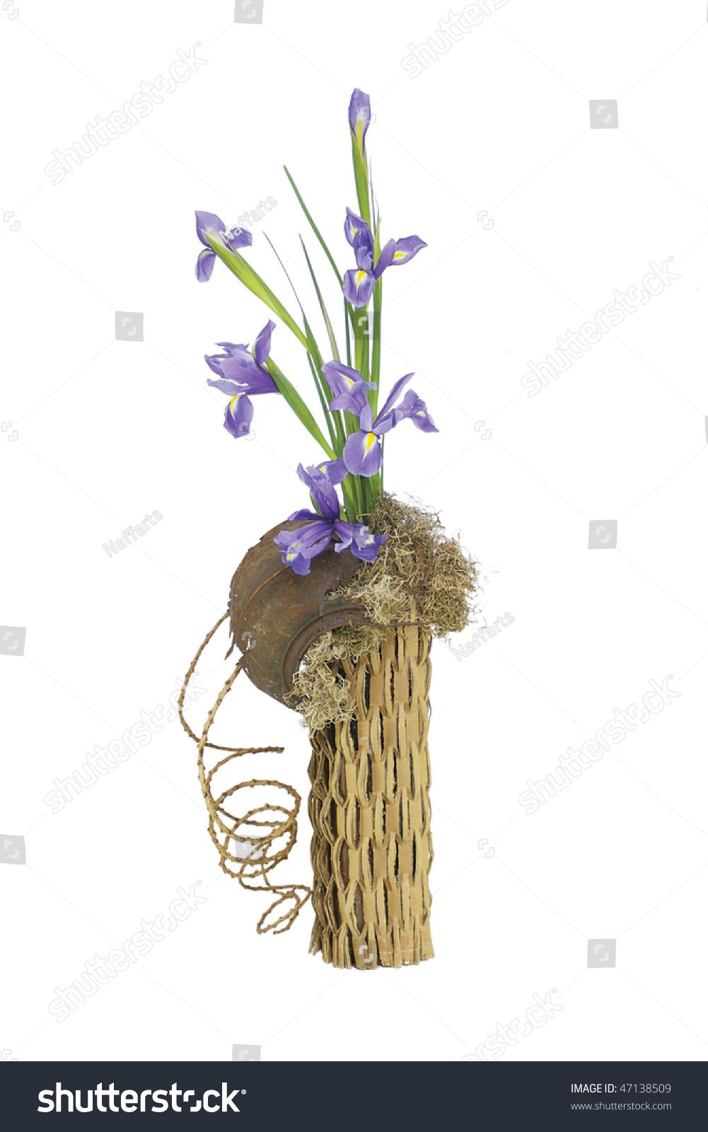Floral arrangement purple iris set on stock photo edit now a floral arrangement of purple iris set on a white isolated background purple iris flowers izmirmasajfo