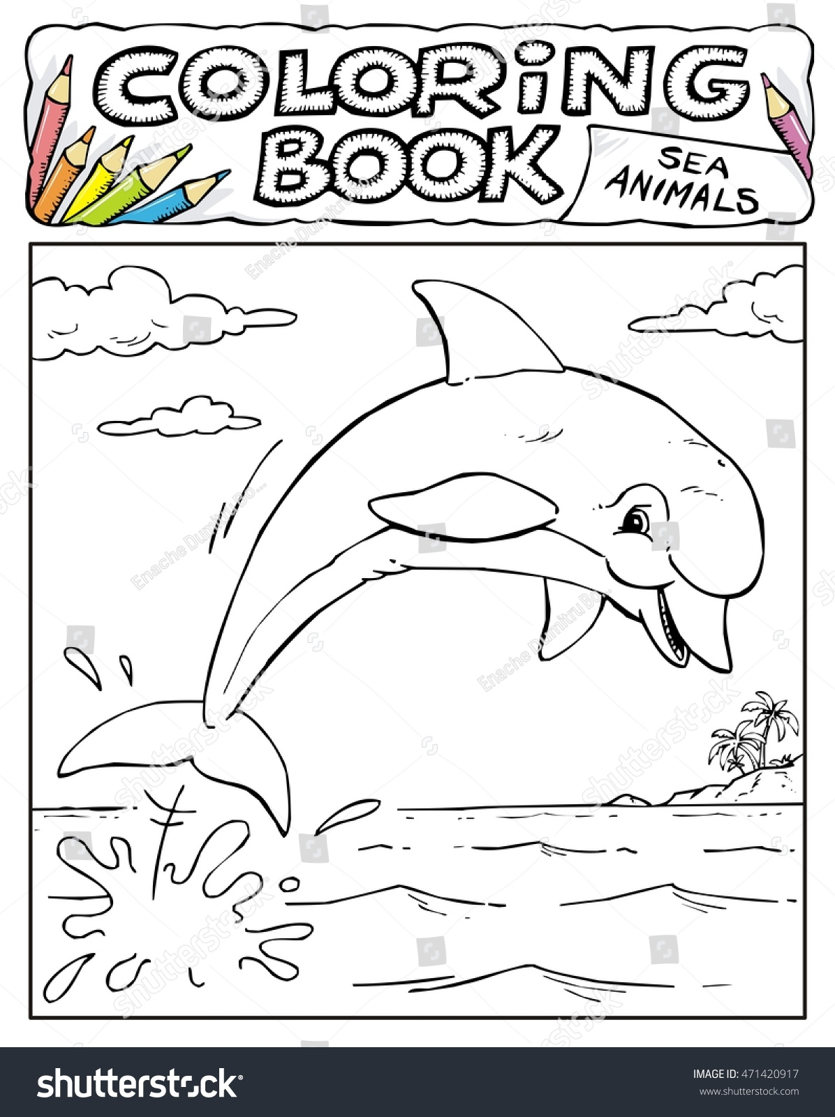 Dolphin Coloring Book Pages SEA ANIMALS Stock Vector (Royalty Free ...