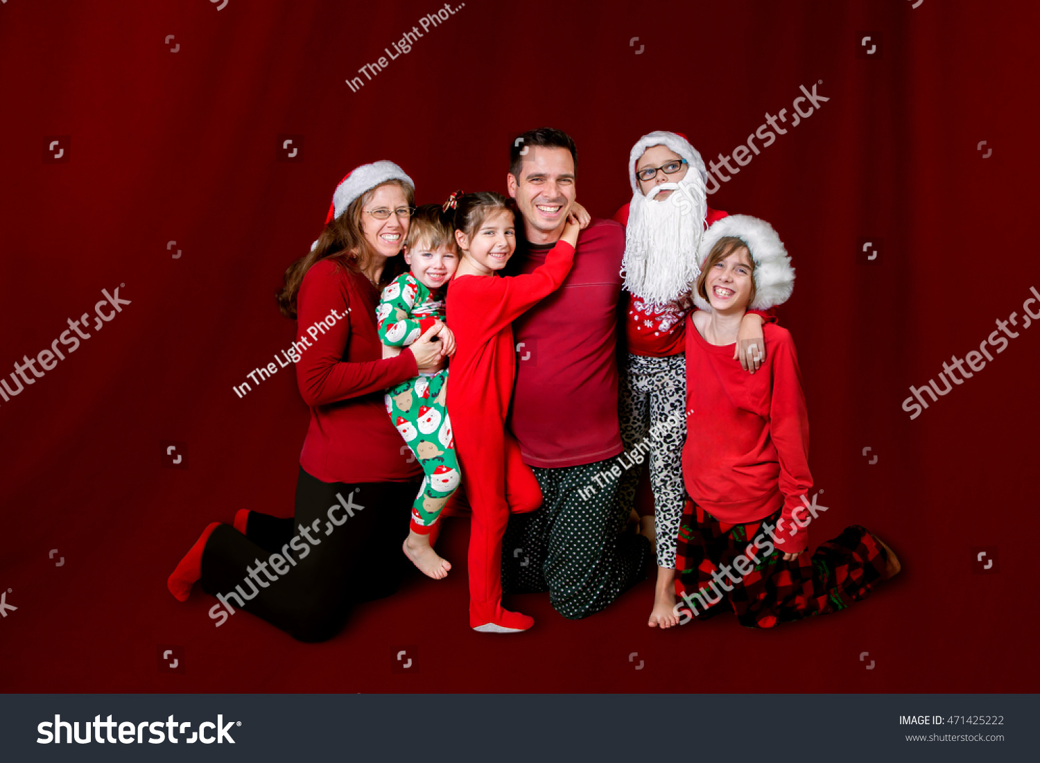 Family Dressed Christmas Colors Some Santa Stock Photo (Edit Now ...