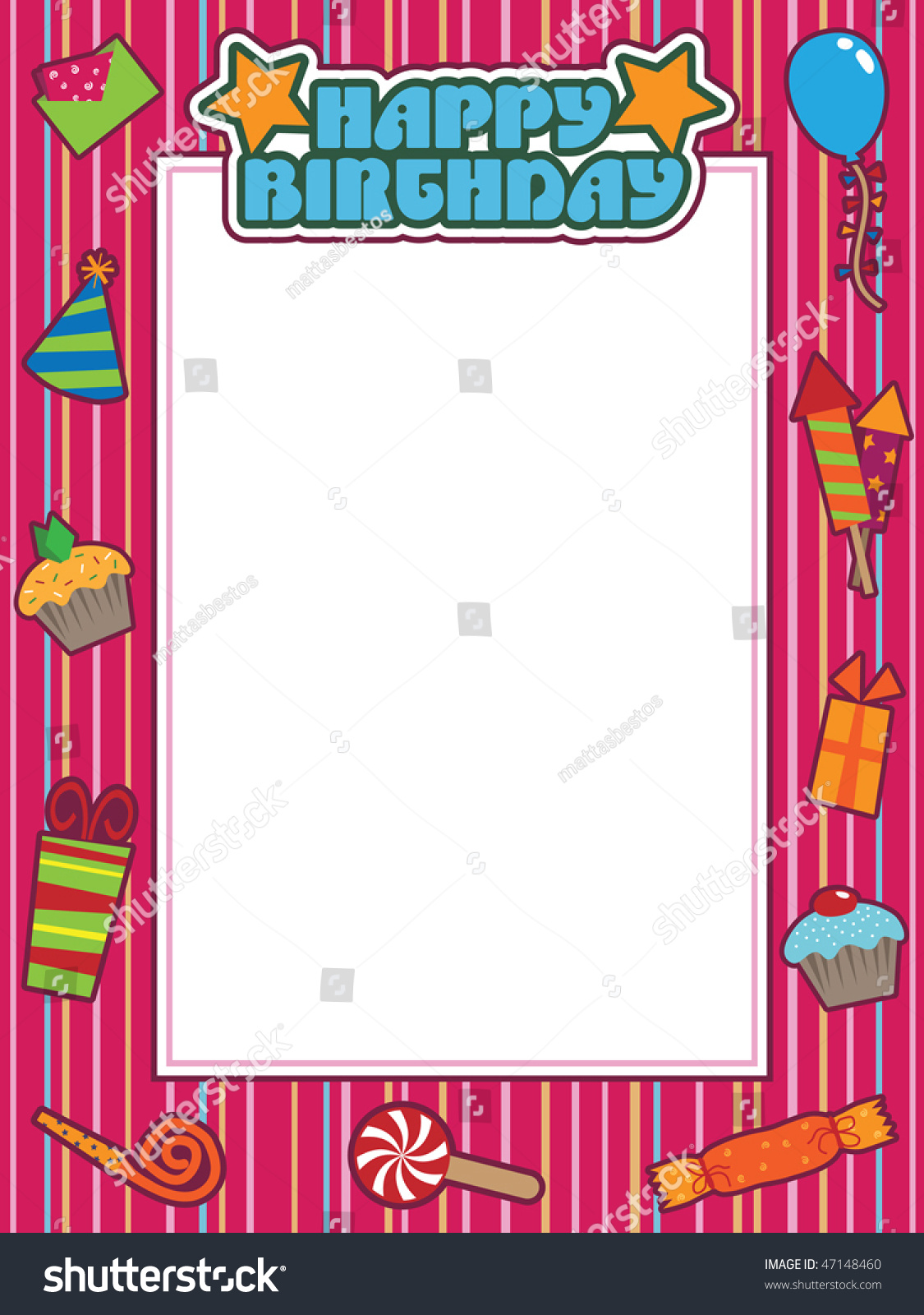 Colourful Happy Birthday Frame Space Your Stock Vector