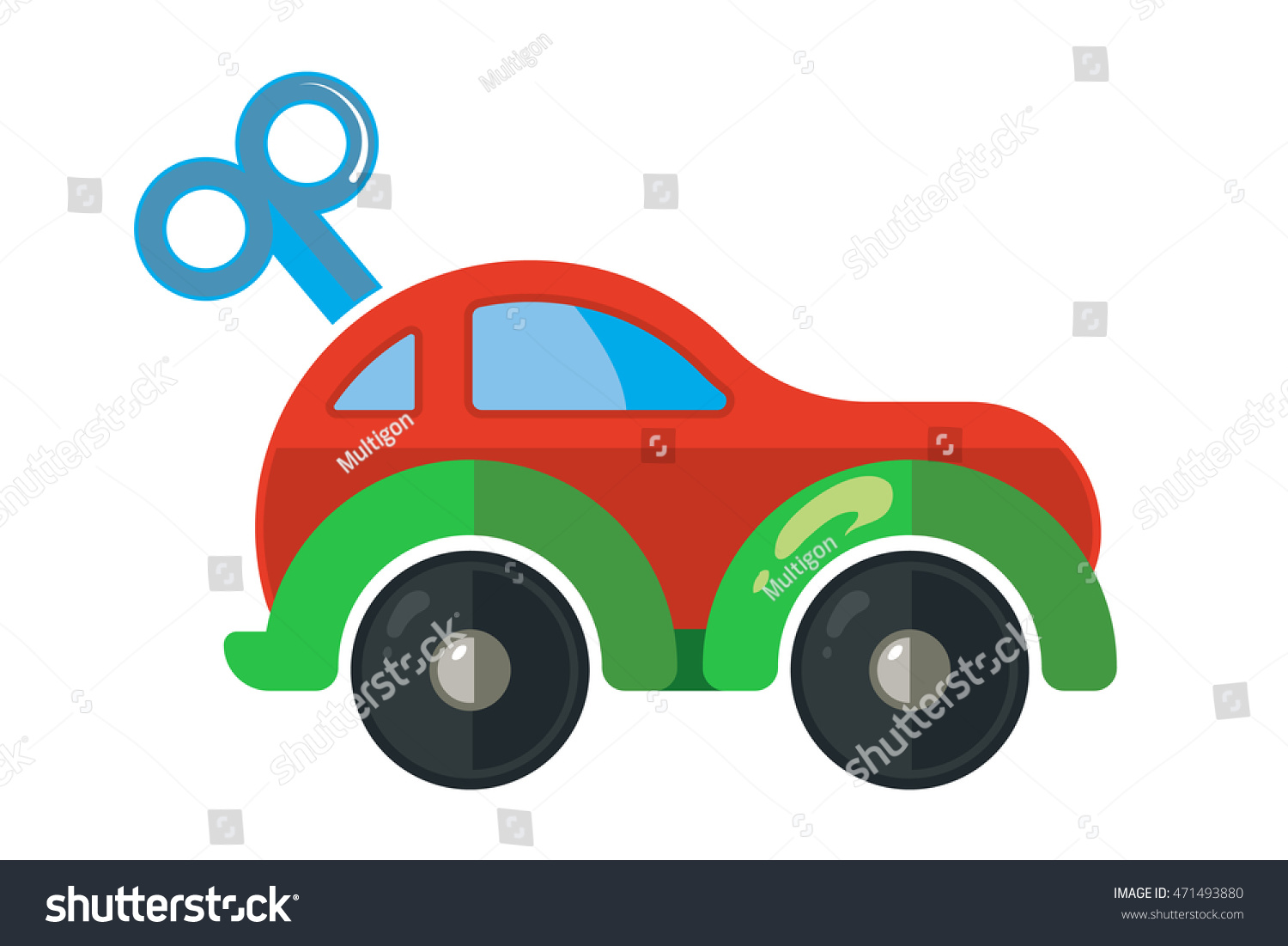 vector illustration of clockwork little car for kids isolate on white background icon picture made