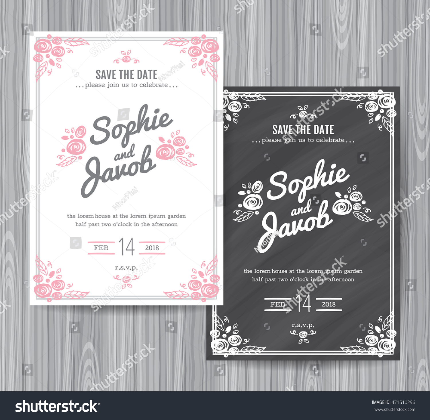 Wedding Invitation Vintage Card Wedding Invitation Stock Vector ...