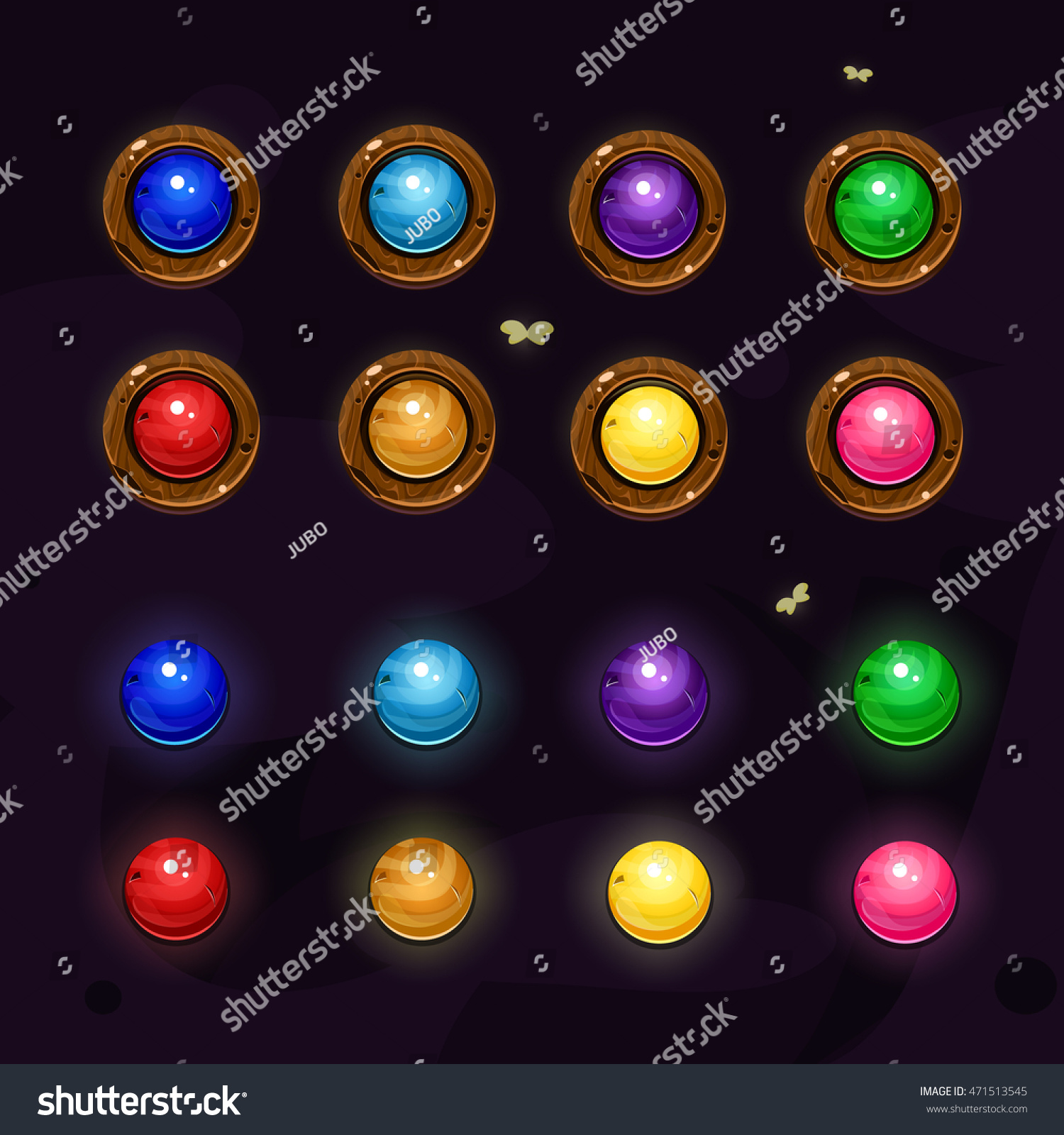 Cartoon Colored Marbles : Set cartoon colors gems wood buttons stock vector
