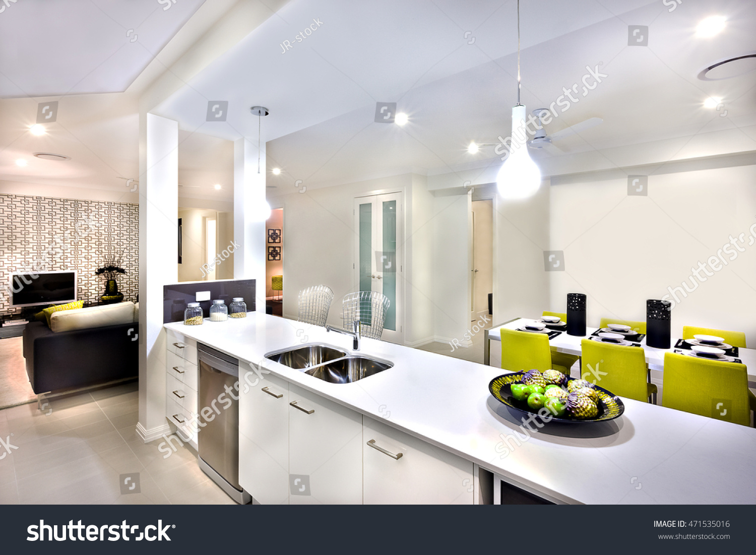 Indoor Hanging Lights Over Counter Next Stock Photo 471535016 ...