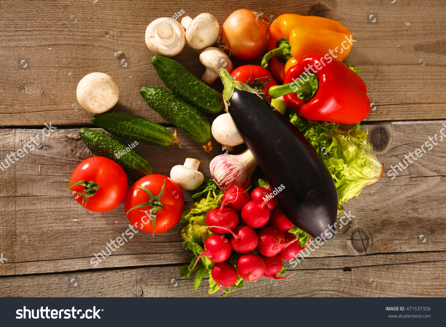 Fresh Vegetables On A Clean Wooden Table Stock Photo 471537326