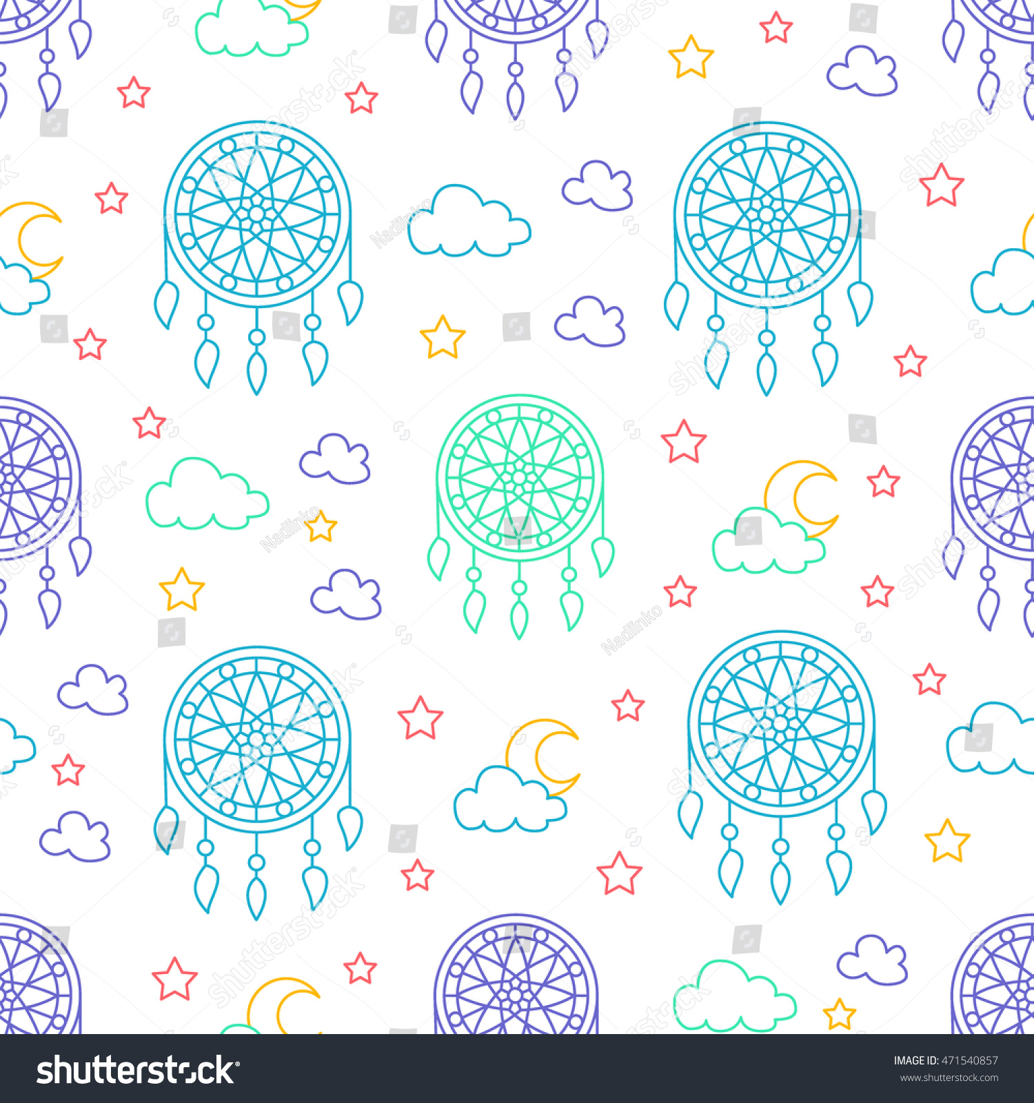 Seamless pattern with dream catchers. Elements - dreamcatcher, star, moon.  Vector illustration