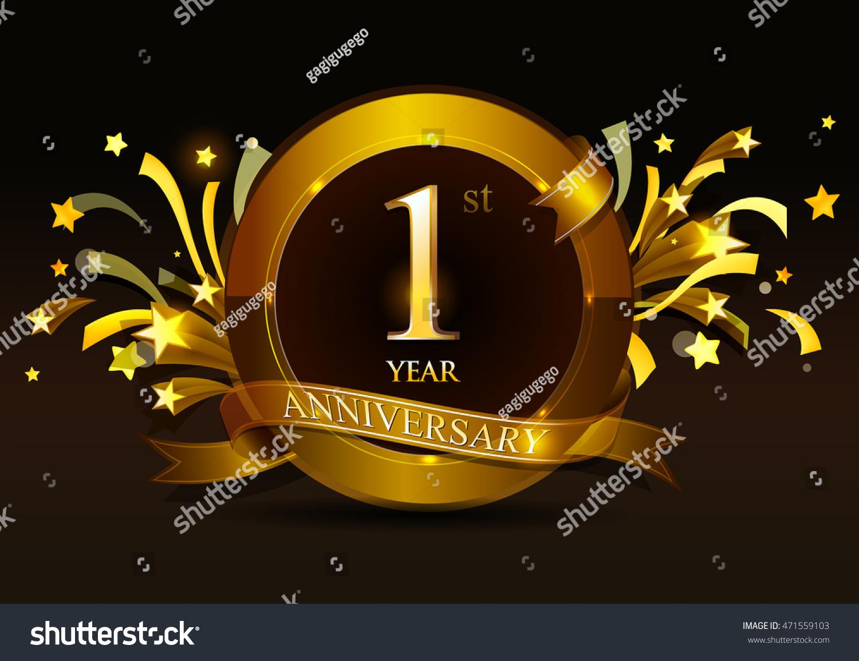 St year anniversary celebration golden ring stock vector