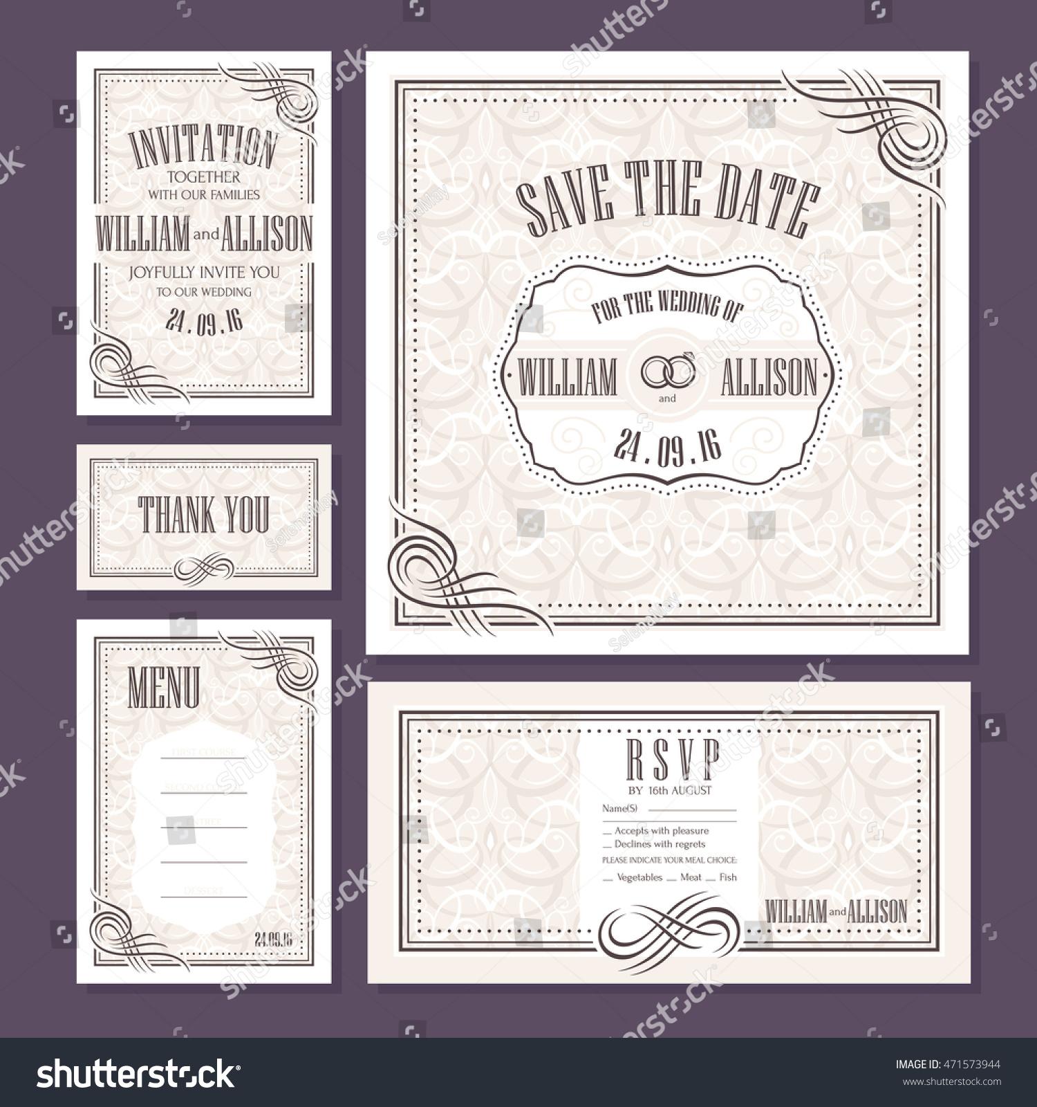 Set Wedding Cards Wedding Invitation Thank Stock Vector 471573944 ...