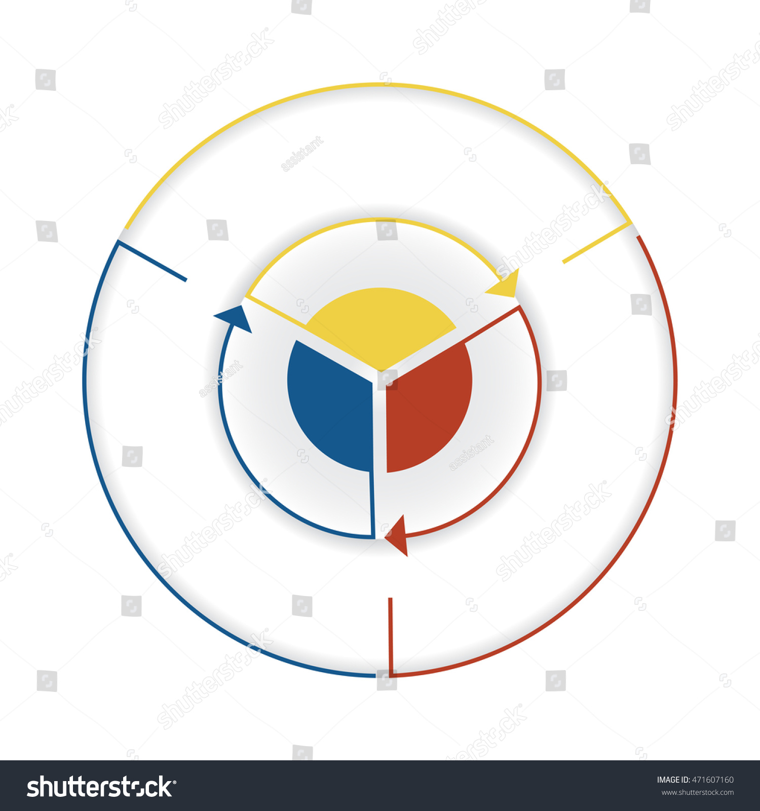 Arrows colourful lines around circle template stock illustration arrows from colourful lines around circle template infographic three position pie chart nvjuhfo Choice Image