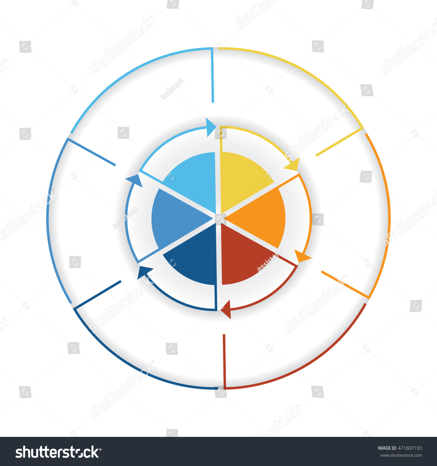 Arrows colourful lines around circle template stock illustration arrows from colourful lines around circle template infographic six position pie chart nvjuhfo Choice Image