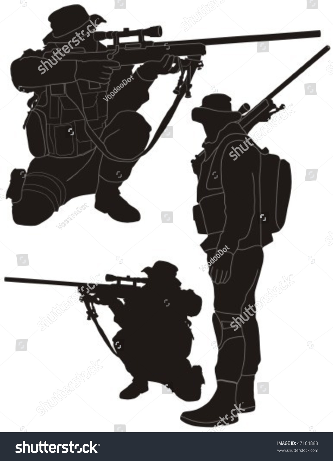 Sniper Silhouette Stock Vector Illustration 47164888 ...