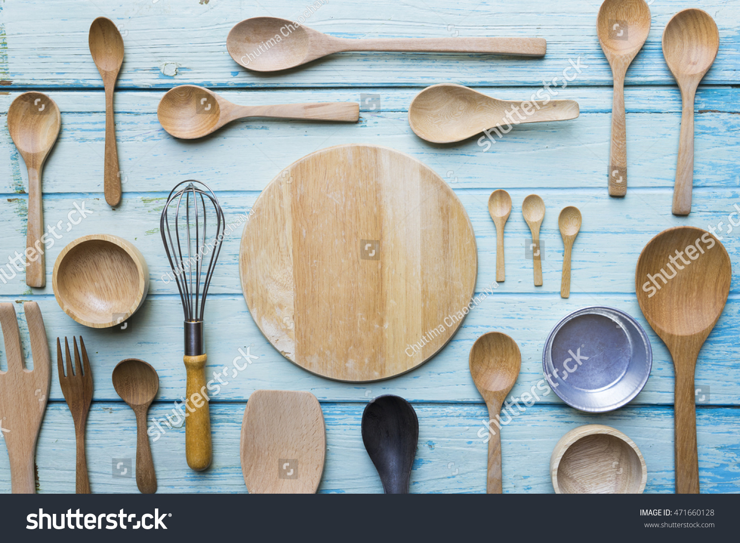 Various Kitchen Utensils On Wooden Table Stock Photo (Royalty Free ...