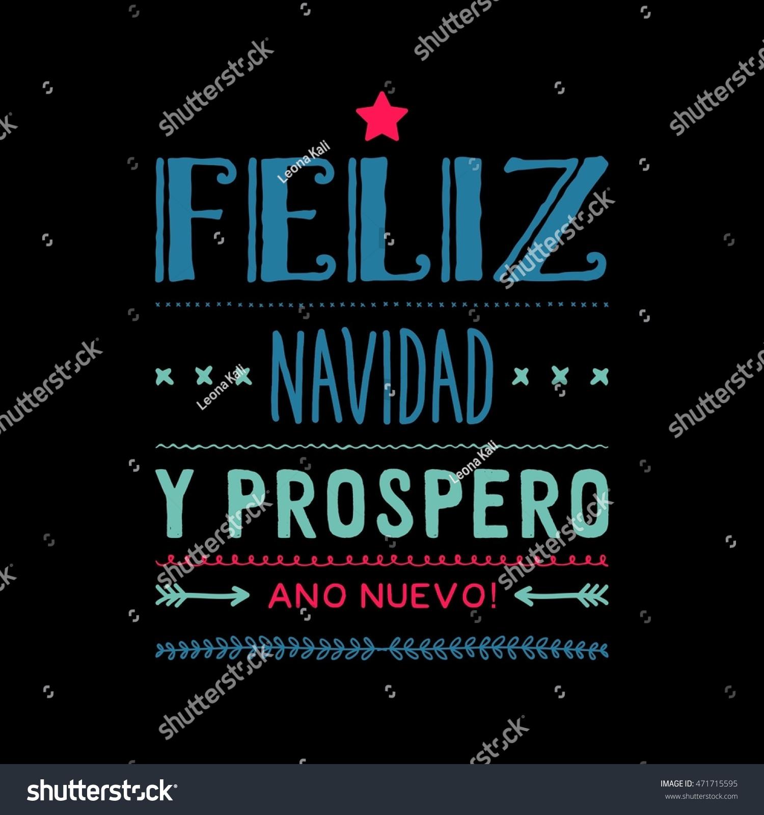 Merry Christmas Card Template Greetings Spanish Stock Illustration ...