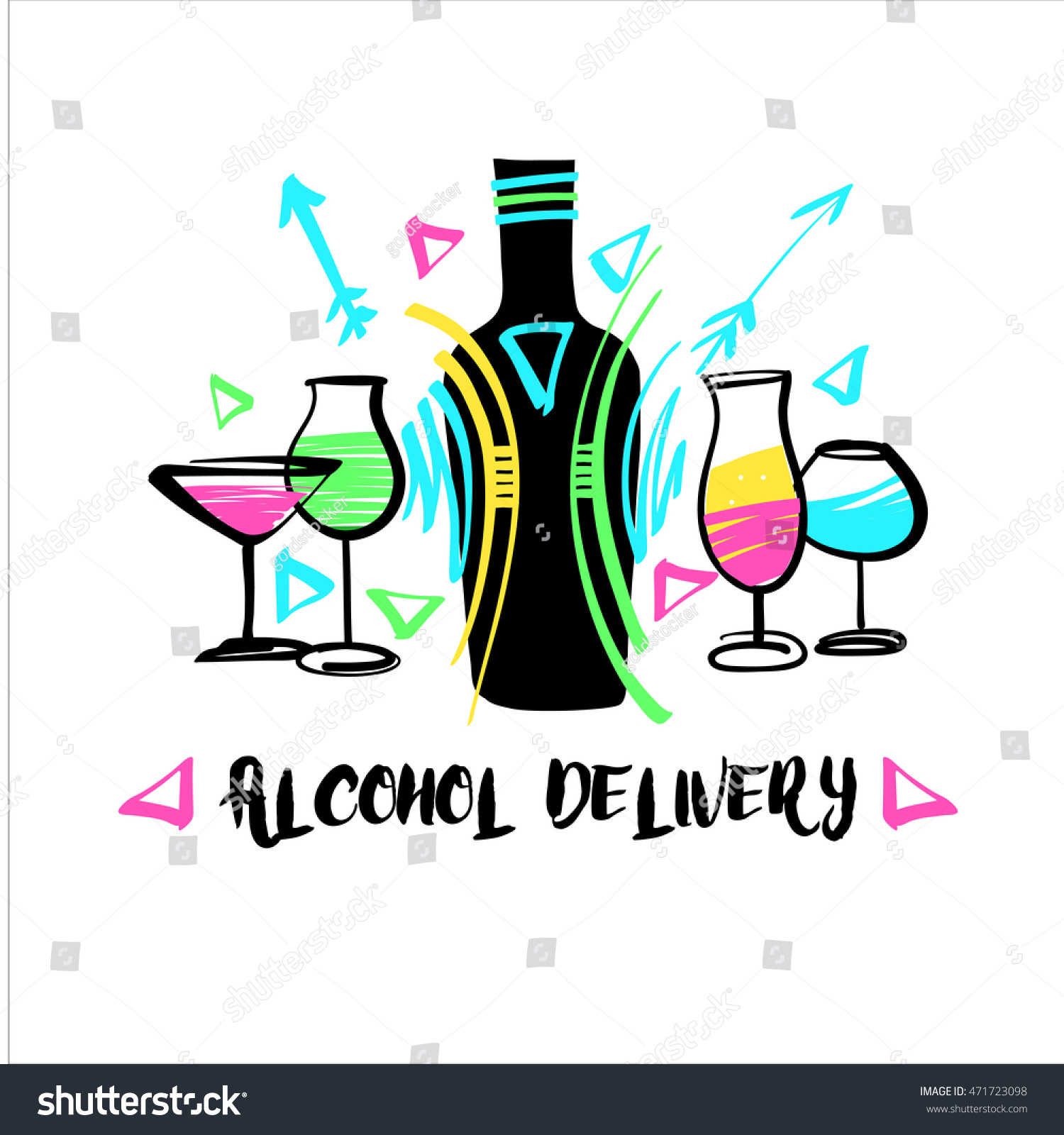 vector free hand drawn logo alcohol stock vector 471723098 vector free hand drawn logo for alcohol liquor home company element of corporate identity and