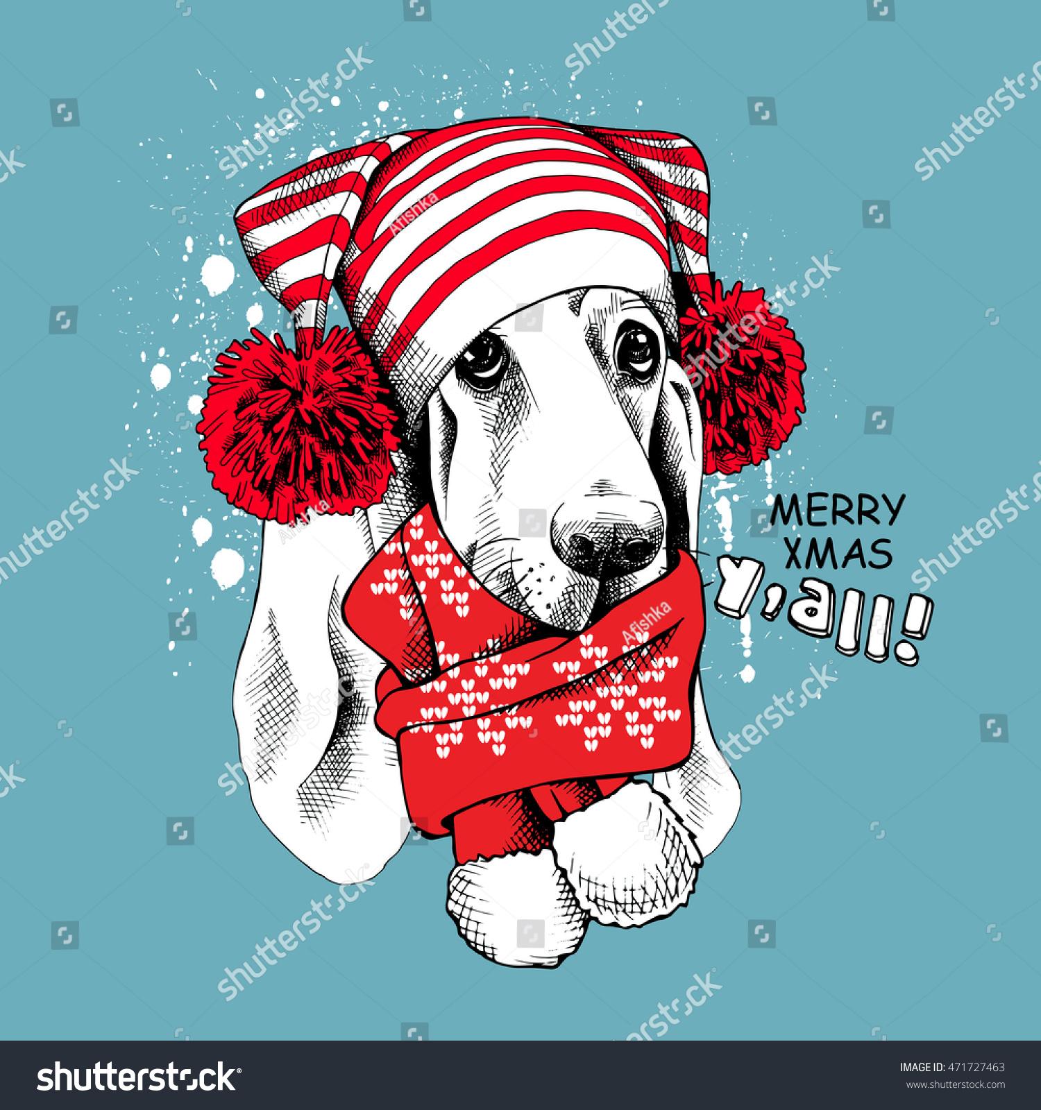 Christmas Card Portrait Basset Hound Dog Stock Vector (Royalty Free ...