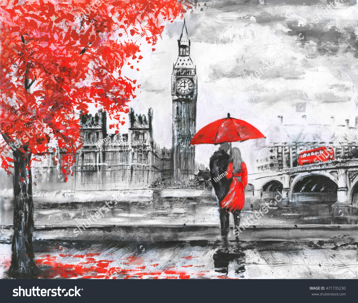 Oil painting on canvas street view stock illustration for Painting red umbrella