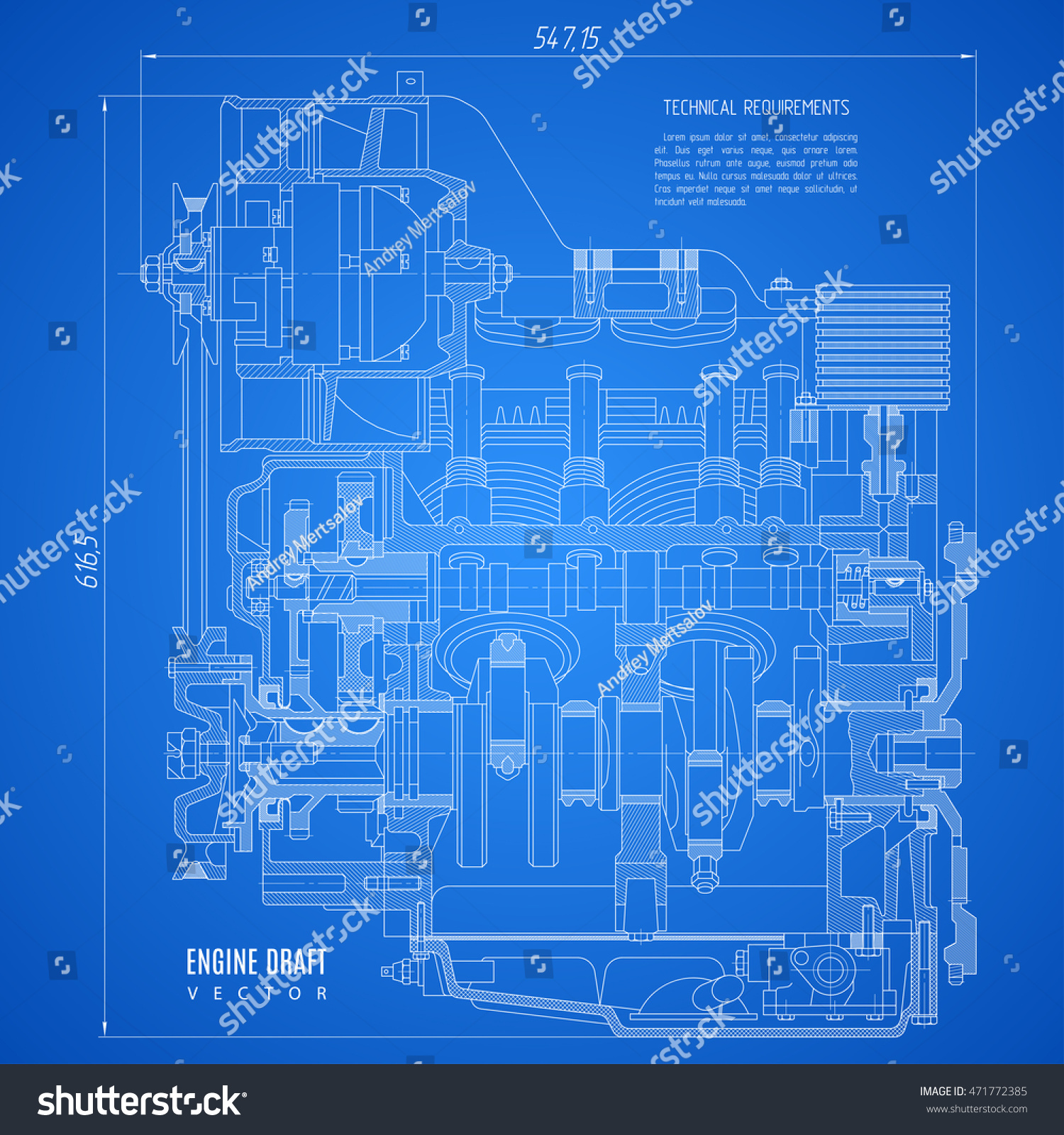 blueprint engine, project technical drawing on the blue background. stock  vector illustration eps10