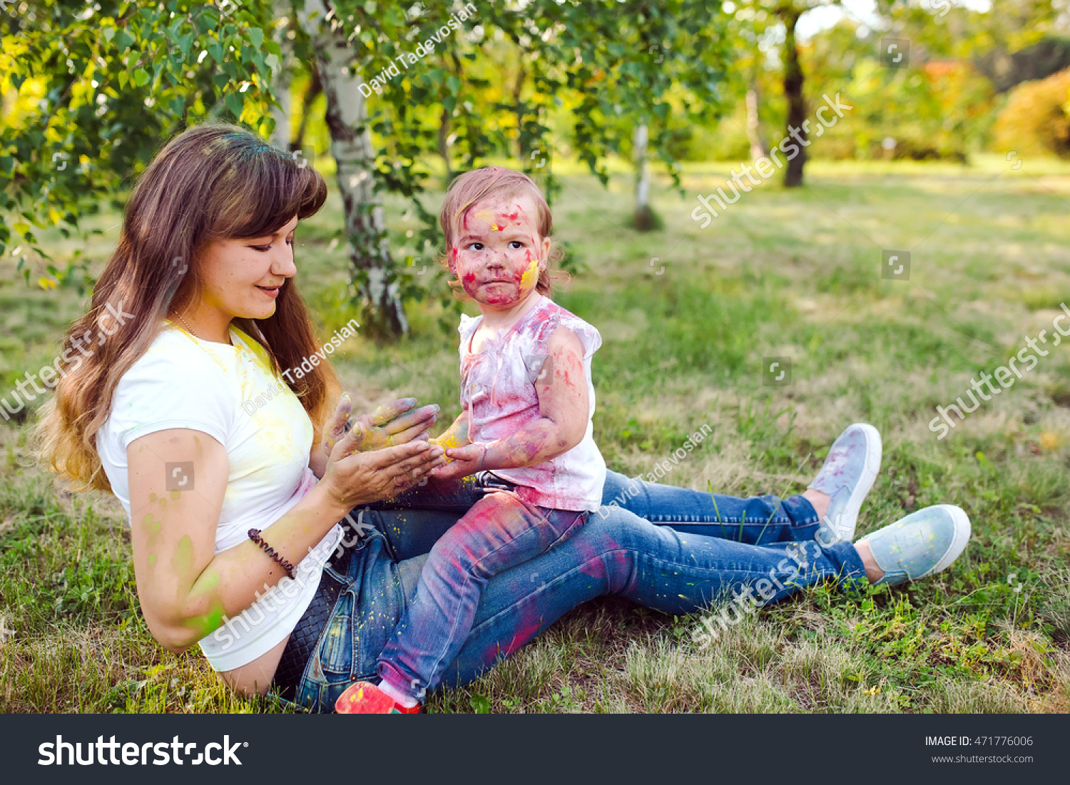 Family Playing Park Family Painted Colors Stock Photo (Royalty Free ...