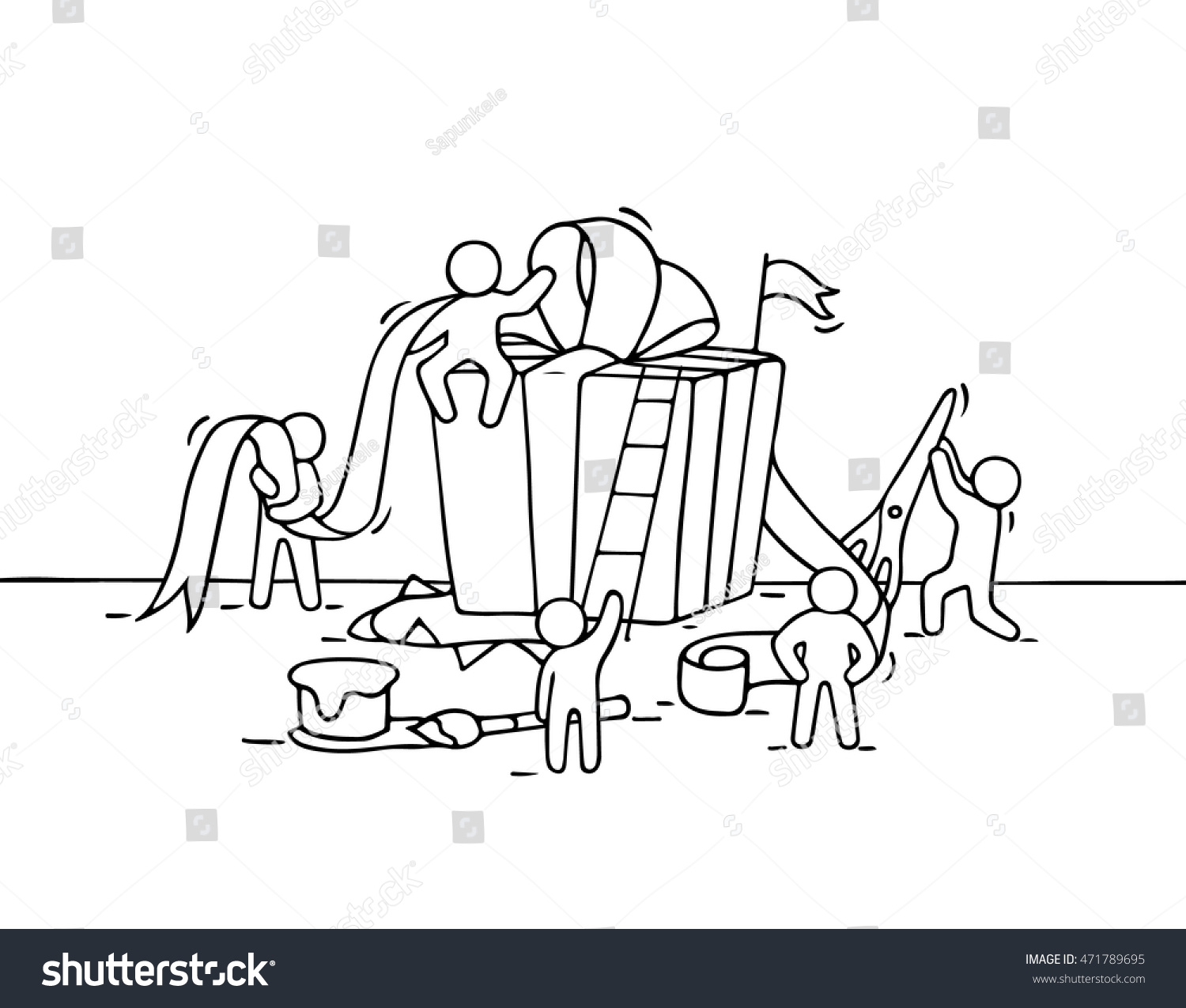 Sketch Gift Box Working Little People Stock Vector (Royalty Free