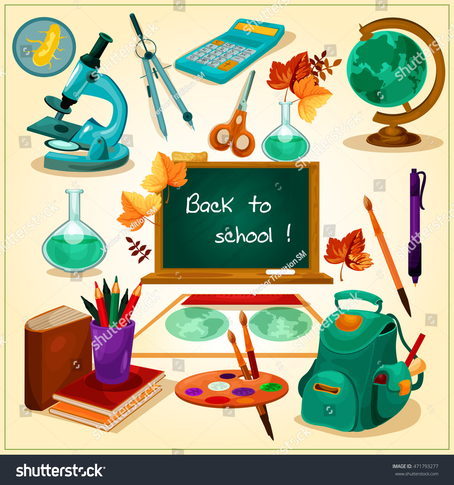 Ihram Kids For Sale Dubai: Back School Poster School Supplies Stationery Stock Vector