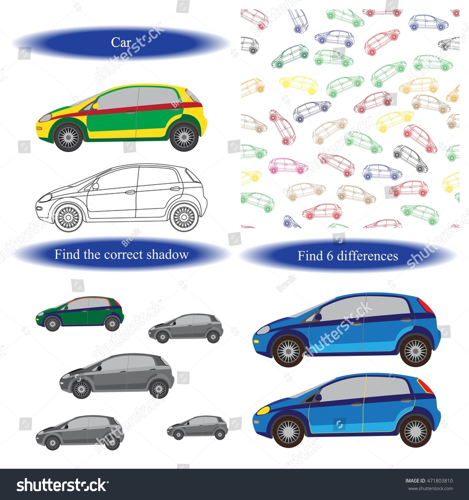 Car Coloring Book Find Differences For Children Background
