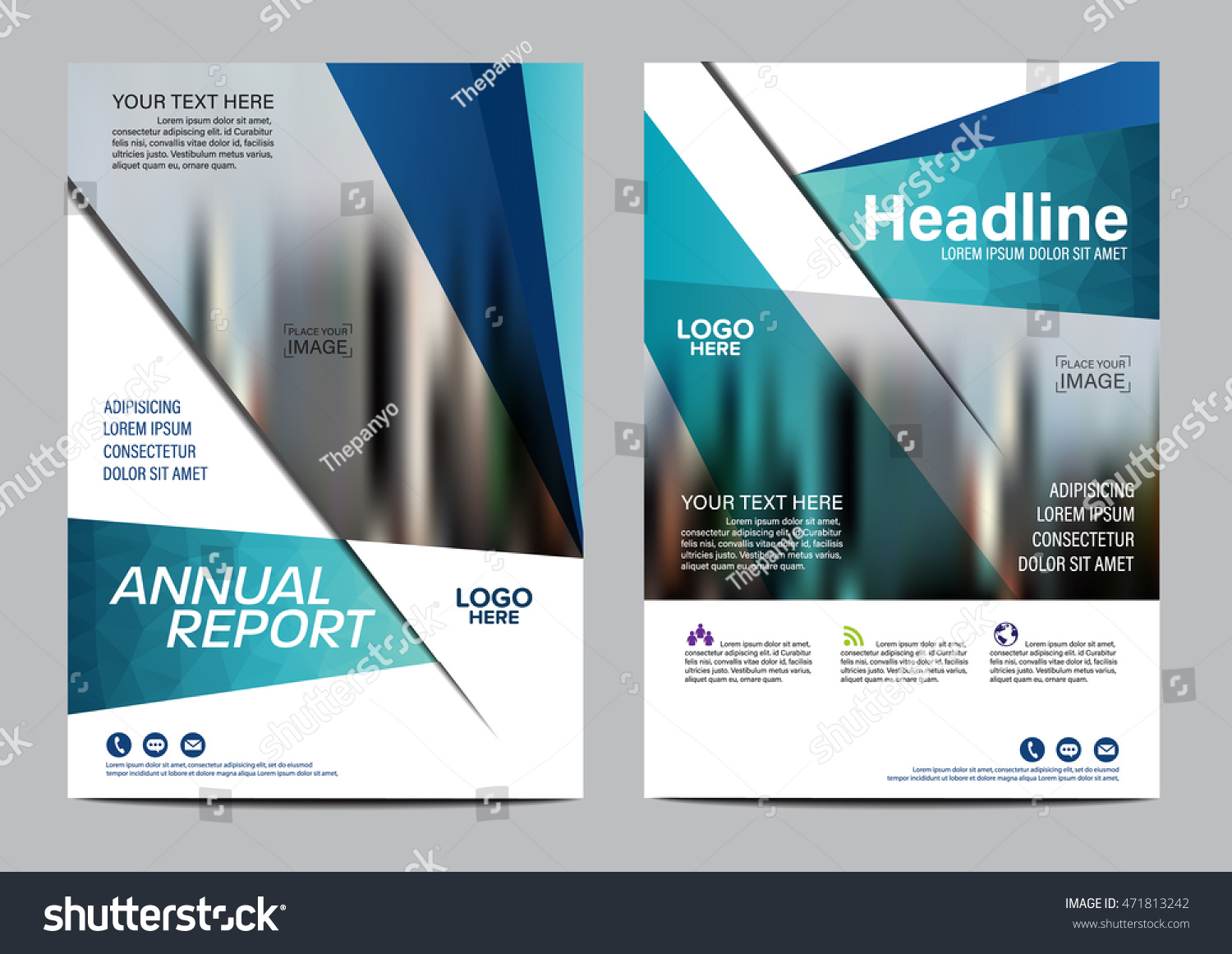 Blue Brochure Layout Design Template Annual Stock Vector - Brochure layout template