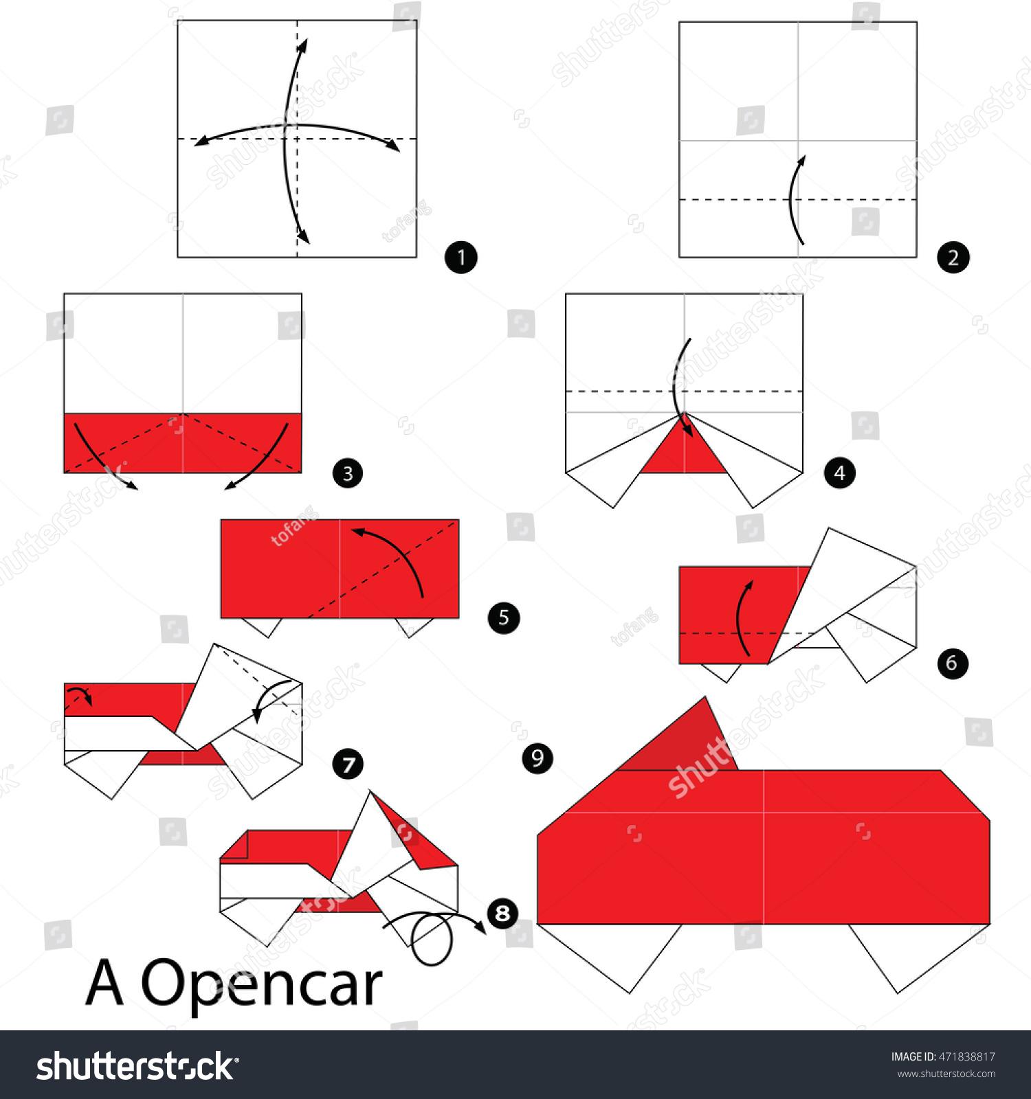 Step by step instructions how make stock vector 471838817 step by step instructions how to make origami a car jeuxipadfo Choice Image