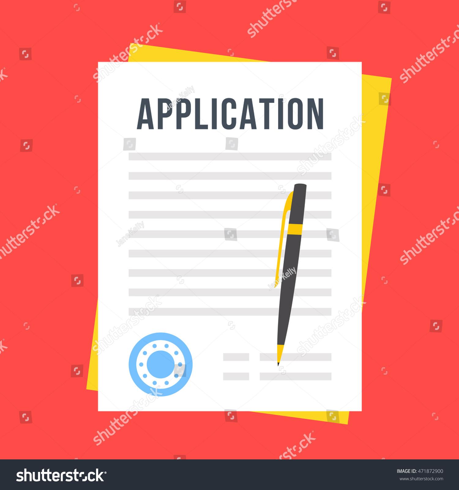 vector application form documents stamp pen のベクター画像素材