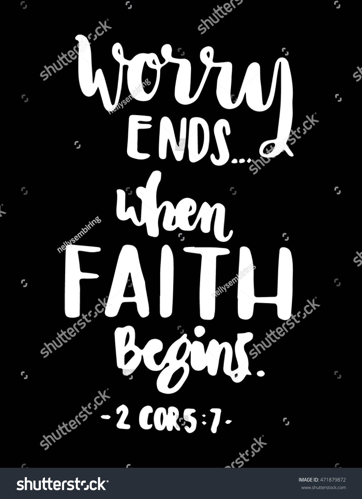 Worry Ends When Faith Begins Bible Stock Vector Royalty Free 471879872